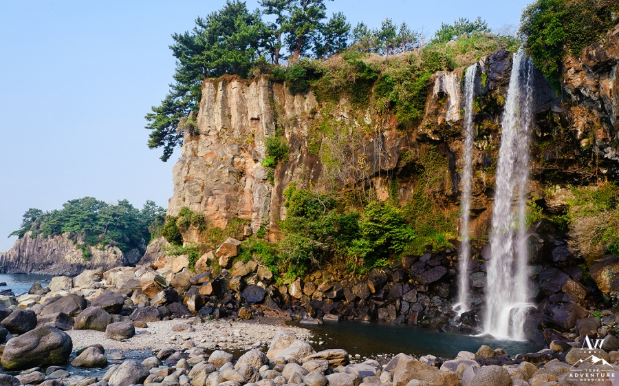 Jeongbang Waterfall on Jeju Island of South Korea
