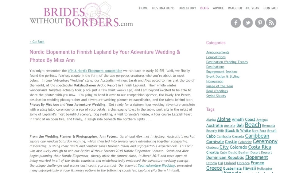 Adventure Wedding in Lapland Brides Without Borders Published