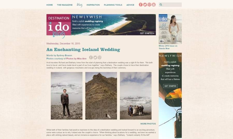 Adventure Wedding Published on I Do Destination Weddings Blog