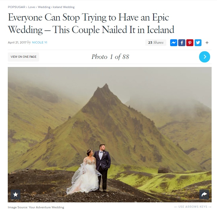 Iceland Wedding Photos Featured on Pop Sugar