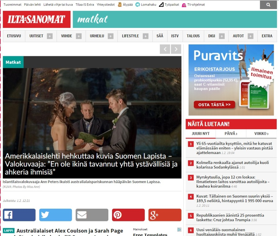 Published in Finland Newspaper Photos by Miss Ann Lapland Adventure Wedding
