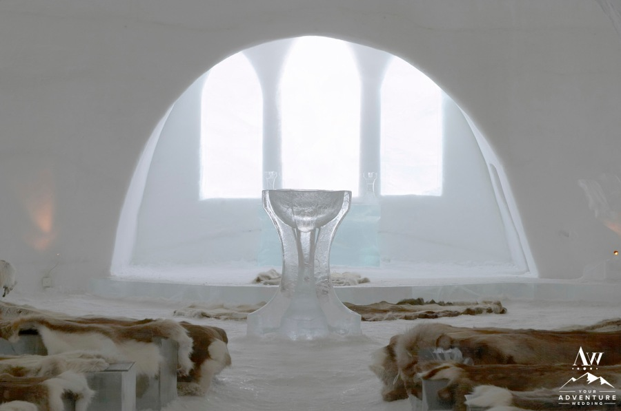Church and chapel of Ice Hotel near Kiruna, Lapland, north Sweden